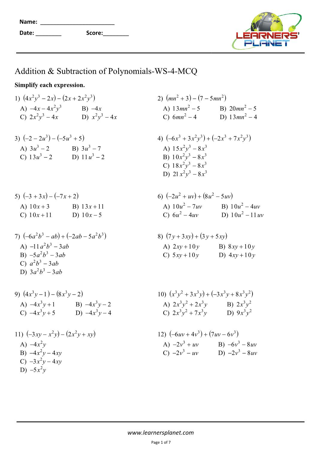 hight resolution of Adding and subtracting polynomials worksheets 8th CBSE