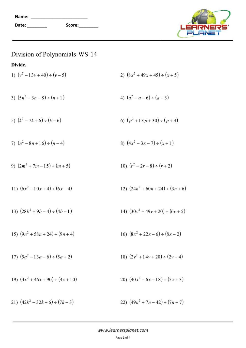 medium resolution of Division of polynomials class 8 worksheets