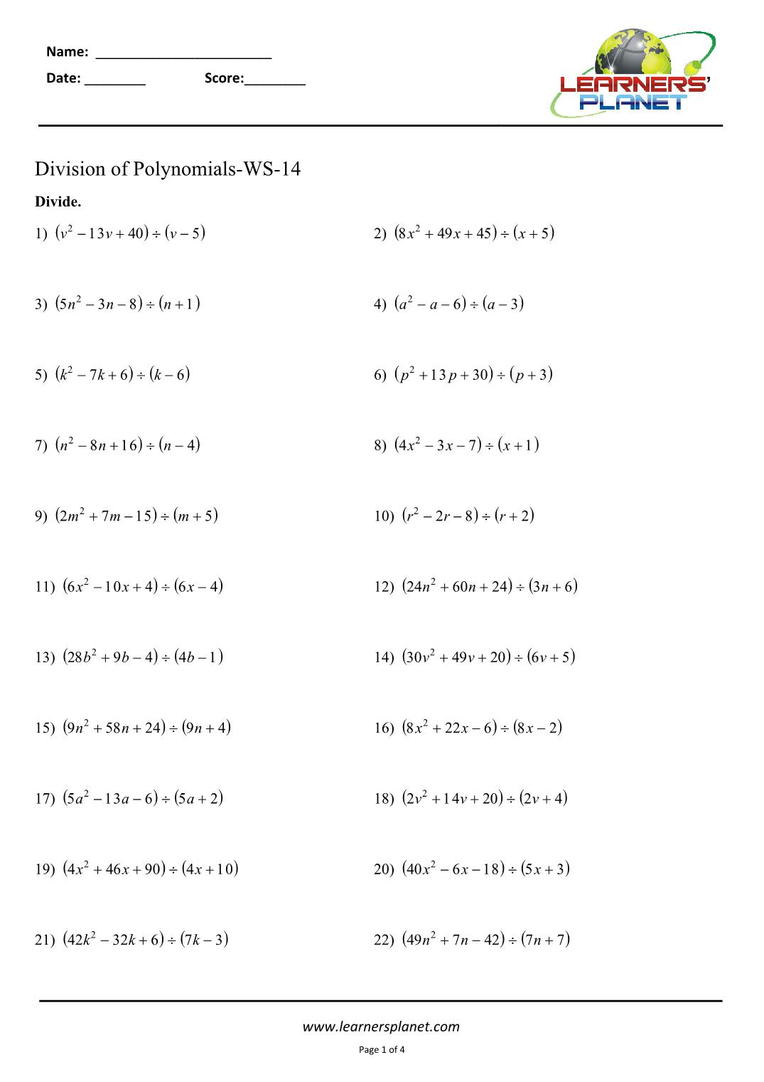 hight resolution of Division of polynomials class 8 worksheets