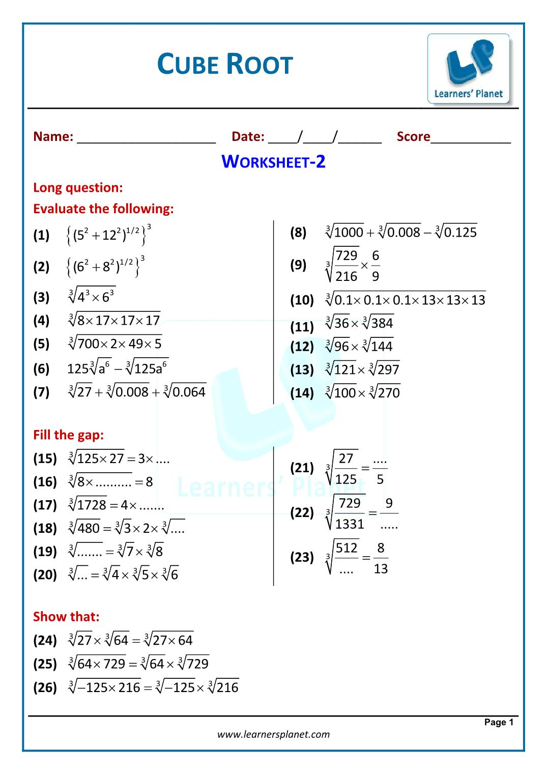 hight resolution of Grade viii cbse cubes and cube roots math online videos