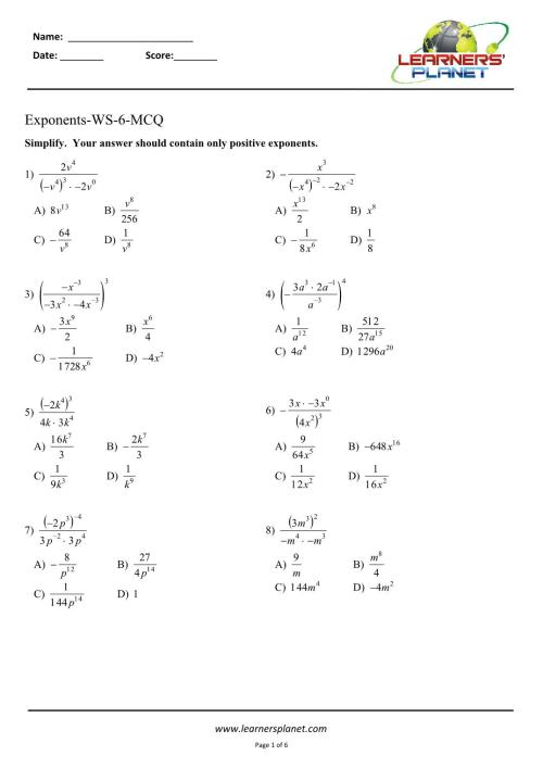 small resolution of Exponents-Workbook-6