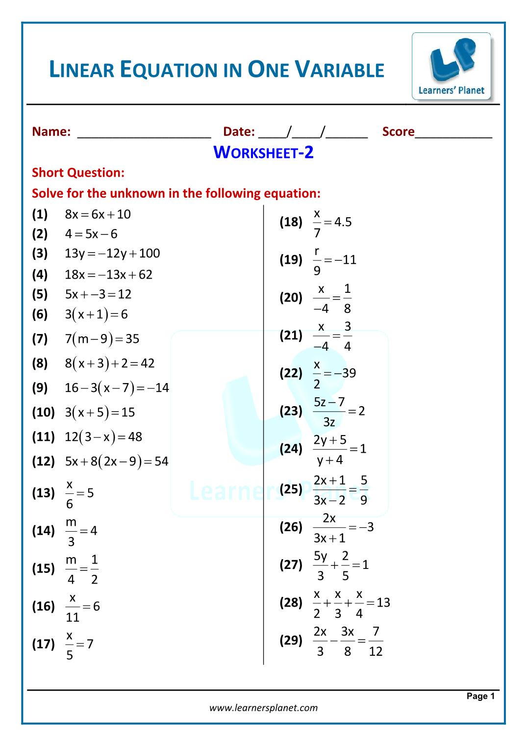 Linear Equation In One Variable Worksheet