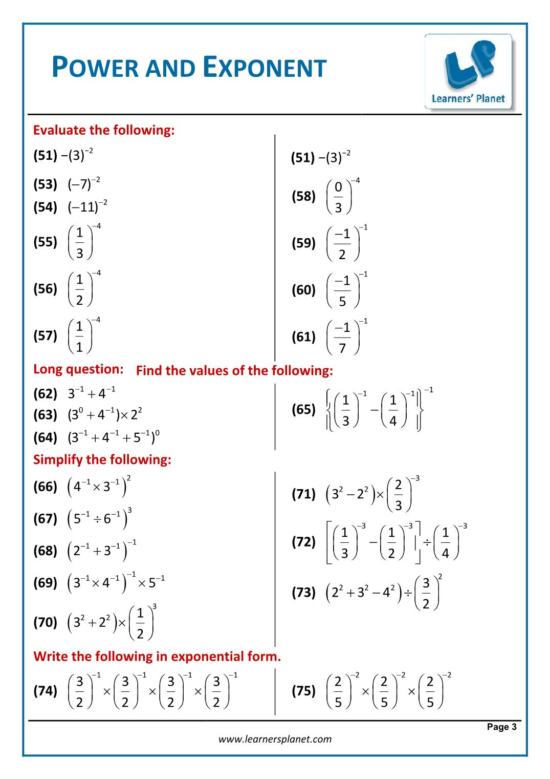 hight resolution of Class eight mathematics exponents and power exercise solution