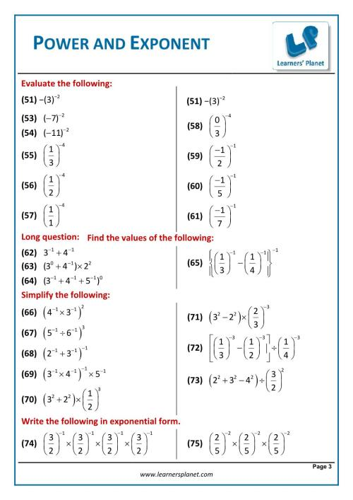 small resolution of Class eight mathematics exponents and power exercise solution