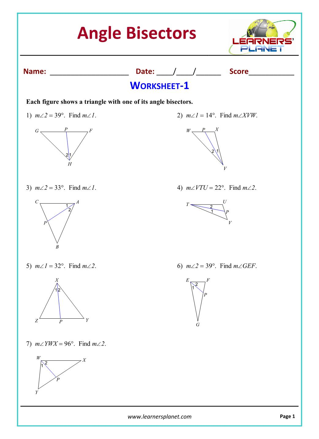 hight resolution of Construct angle bisector grade 9 maths practice worksheet