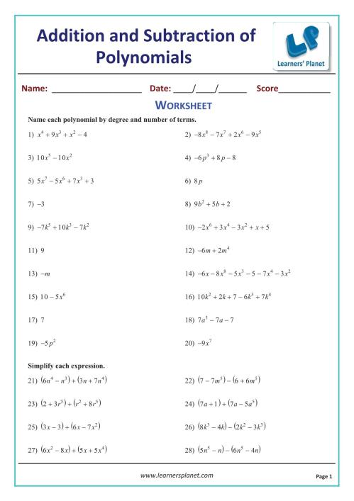 small resolution of Subtracting polynomials math worksheets class 9