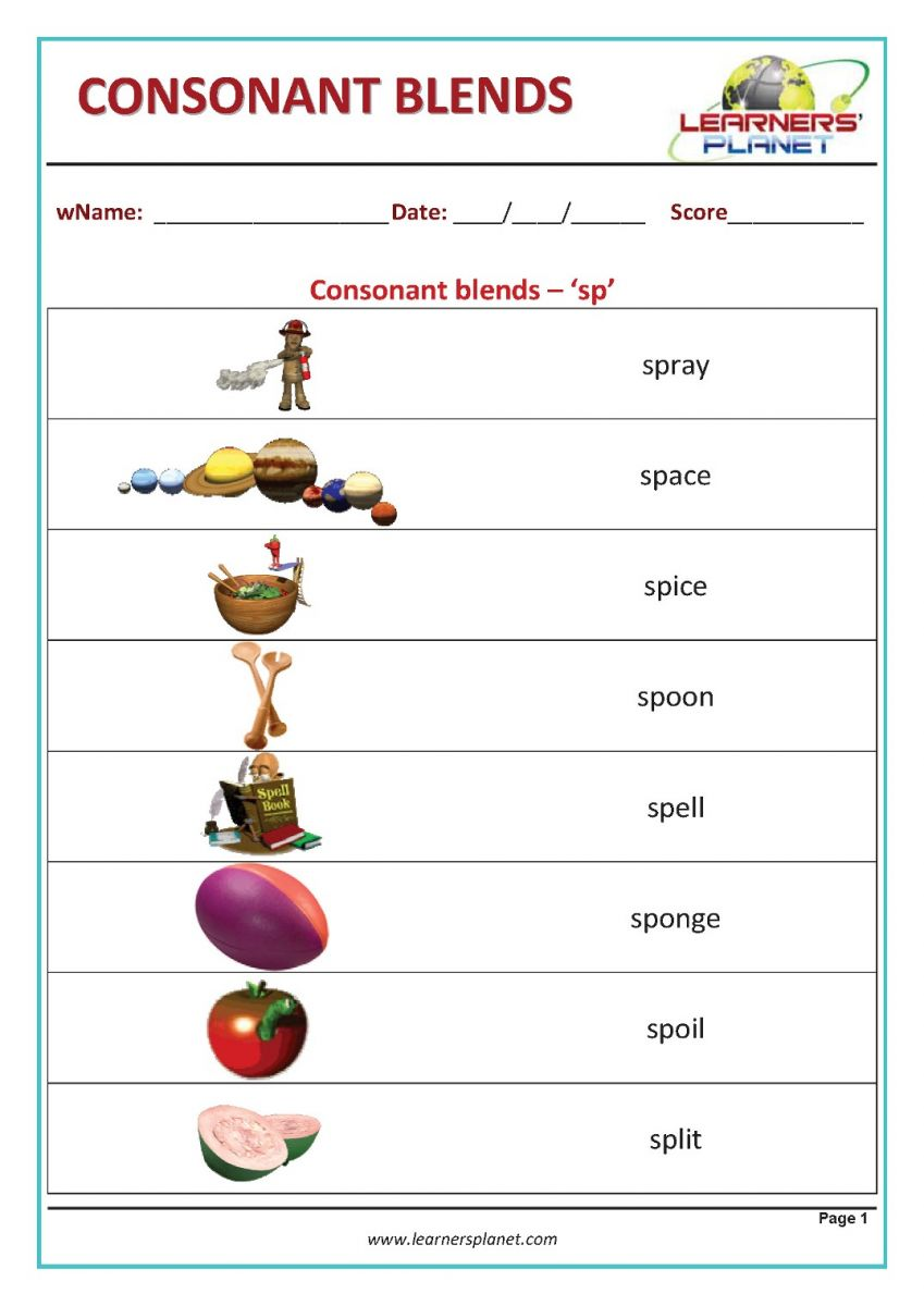 hight resolution of Phonics consonant blends worksheet