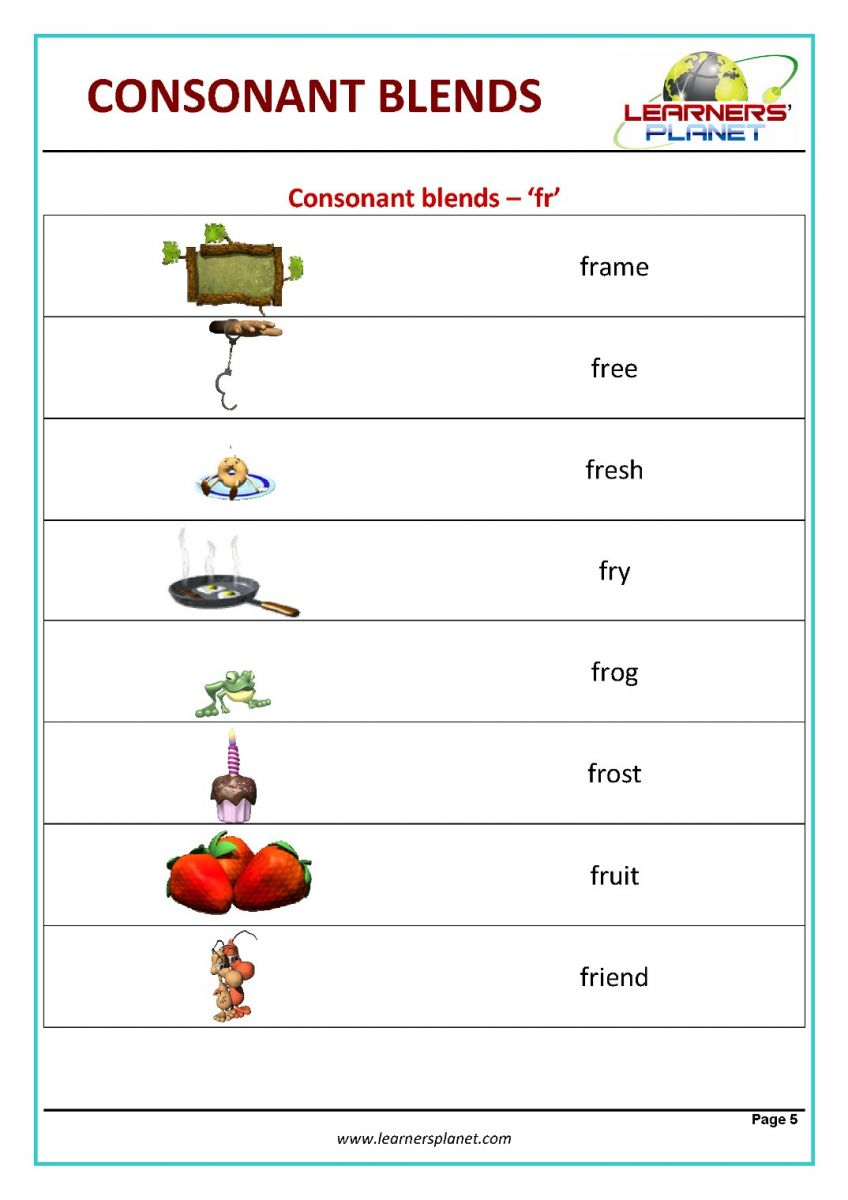 hight resolution of Consonant blend worksheets for kids