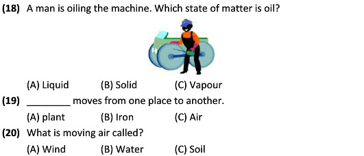 science worksheets on Solid, Liquid and Gases for class 3