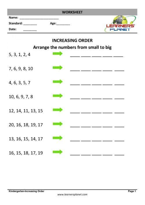 small resolution of Ascending order math worksheets printable PDF