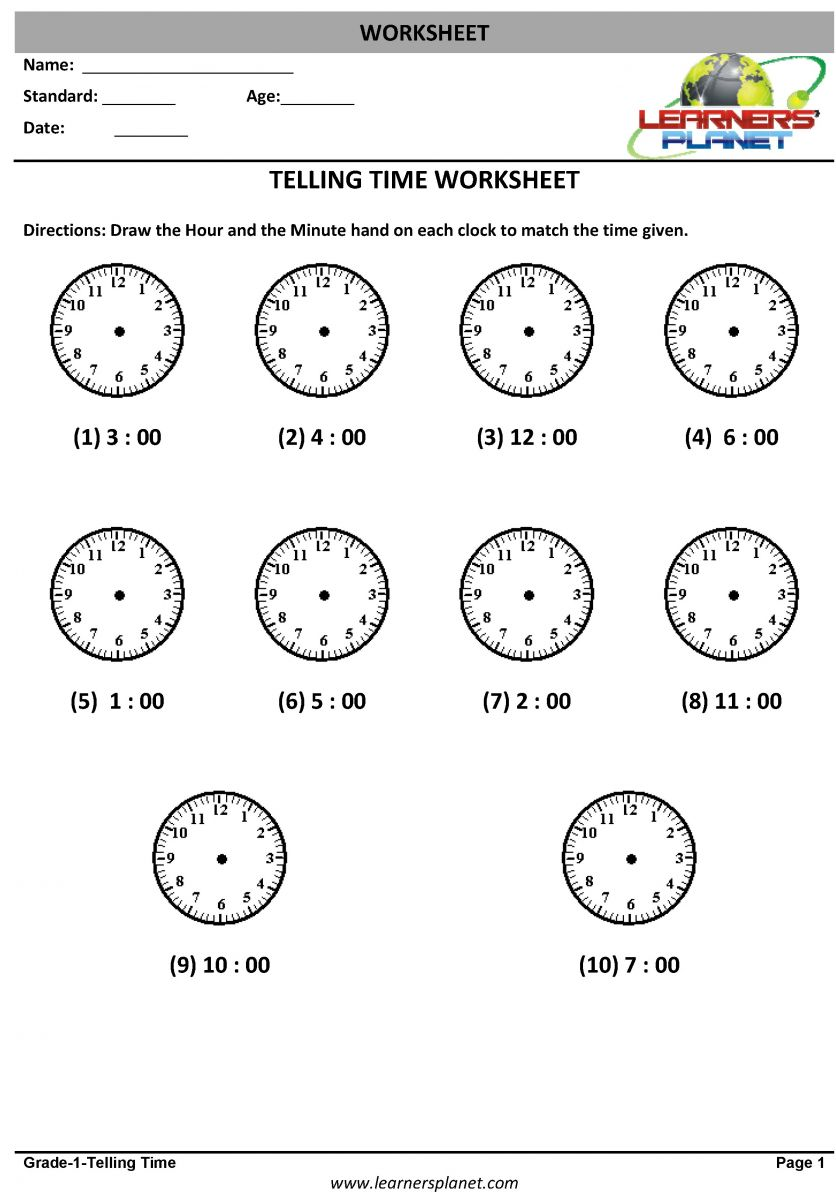 Time and calendar worksheets for class 1 math