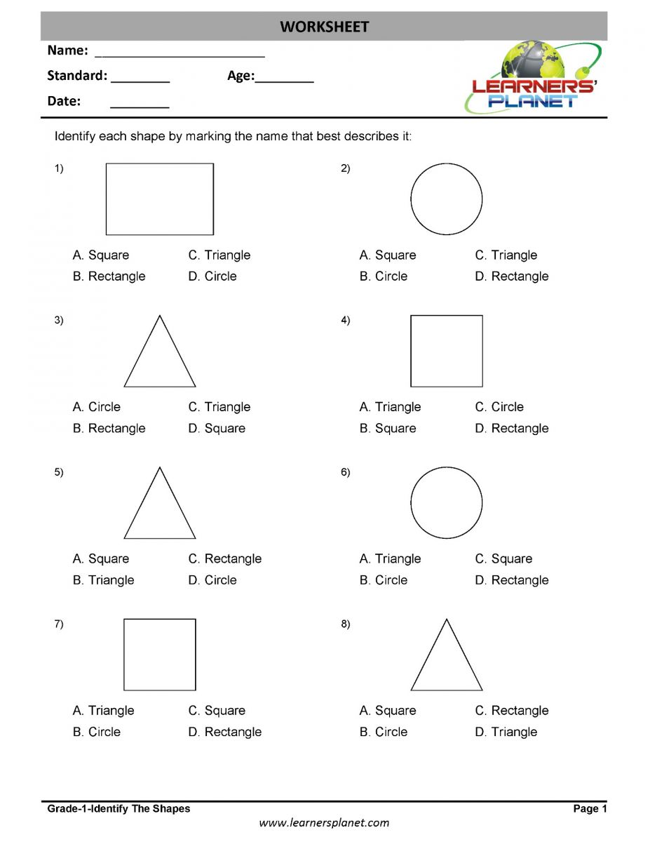 medium resolution of 1st grade geometry worksheets identify the shapes