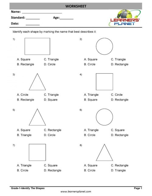 small resolution of 1st grade geometry worksheets identify the shapes