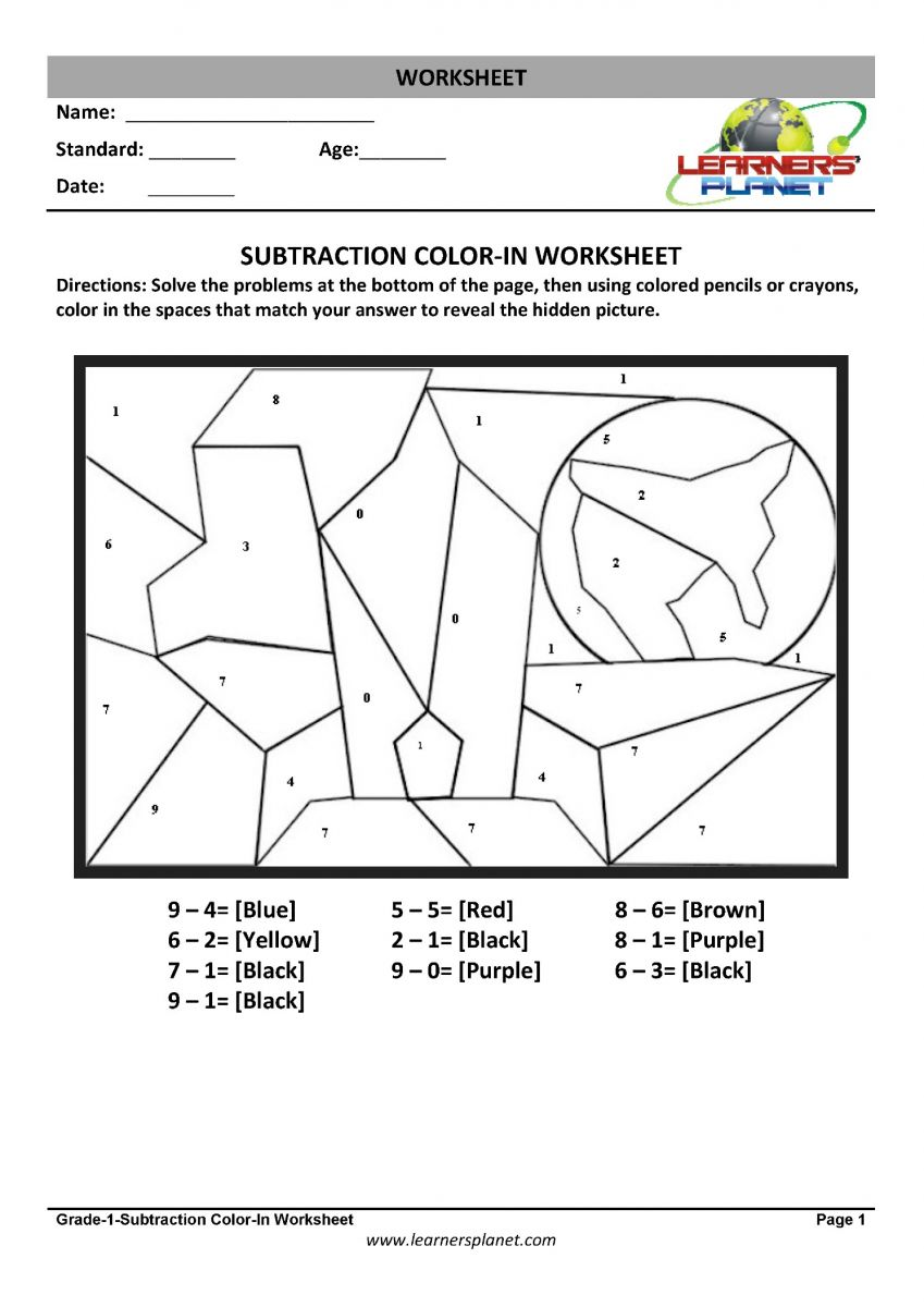 hight resolution of Subtraction worksheets for 1st grade kids
