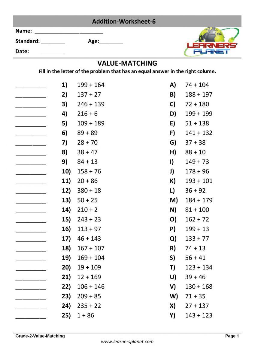 medium resolution of Grade 2 addition worksheets printable