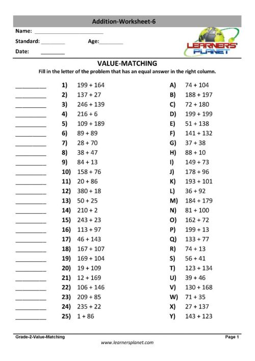 small resolution of Grade 2 addition worksheets printable