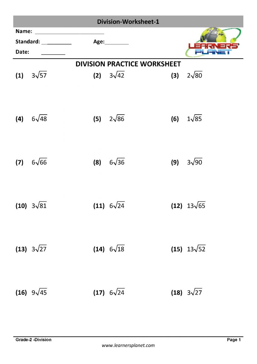 hight resolution of Math division worksheet
