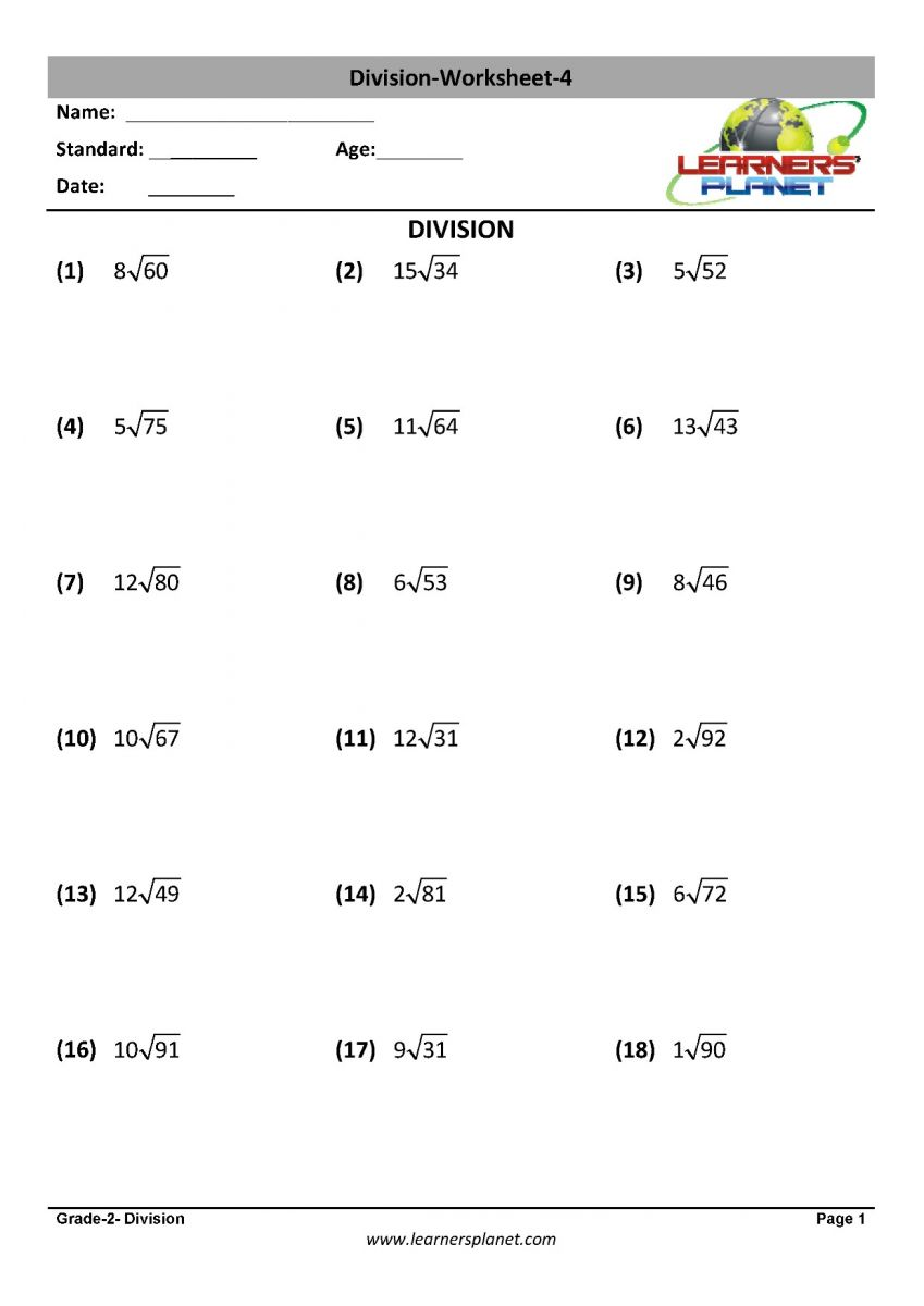 medium resolution of Math division worksheet