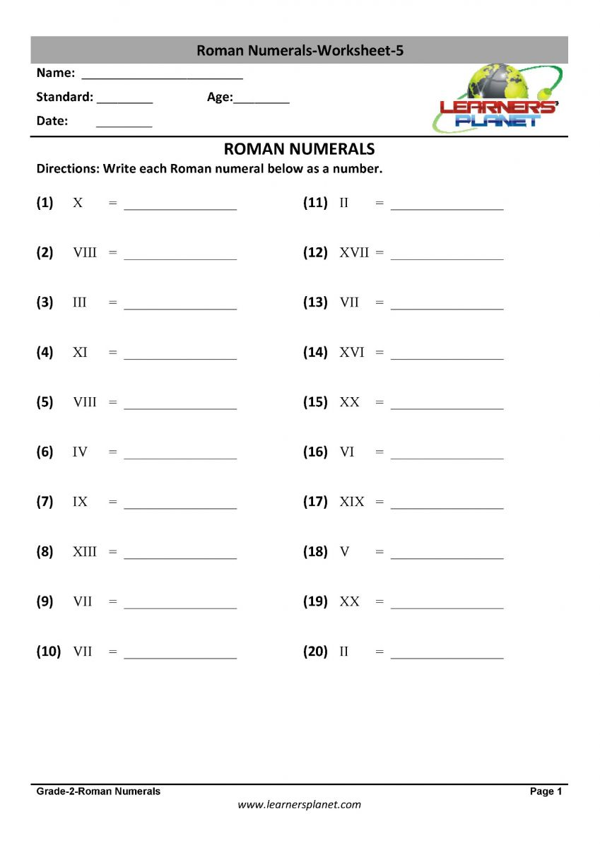 medium resolution of Math 2nd class printable worksheet on roman numerals