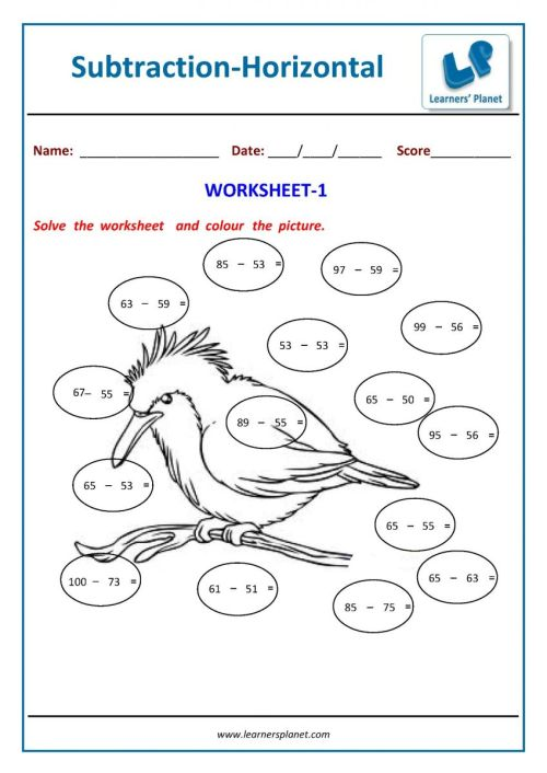 small resolution of Subtraction worksheets online for 2nd class kids math tutorial