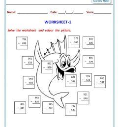 Second grade math subtraction worksheets printable [ 1200 x 849 Pixel ]