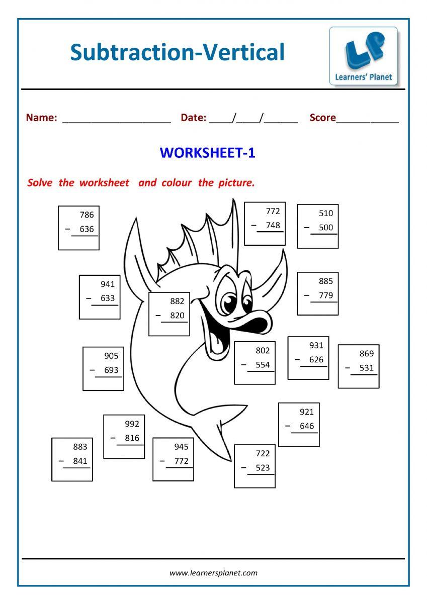 medium resolution of Second grade math subtraction worksheets printable