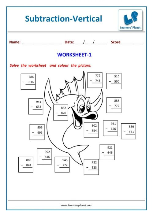 small resolution of Second grade math subtraction worksheets printable