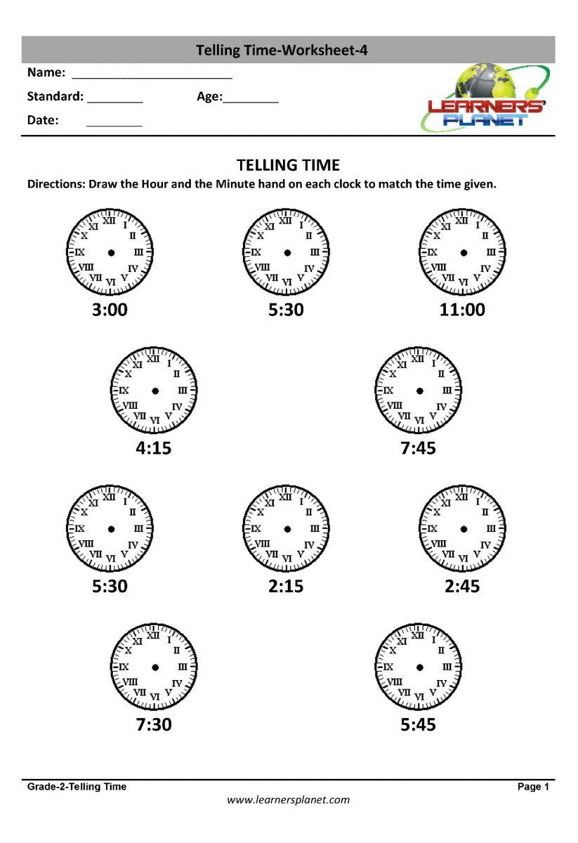 Grade 2 mental math worksheets, telling time, maths