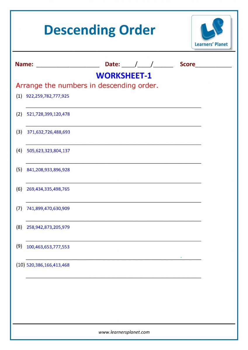 hight resolution of 3rd grade math arranging the numbers worksheet