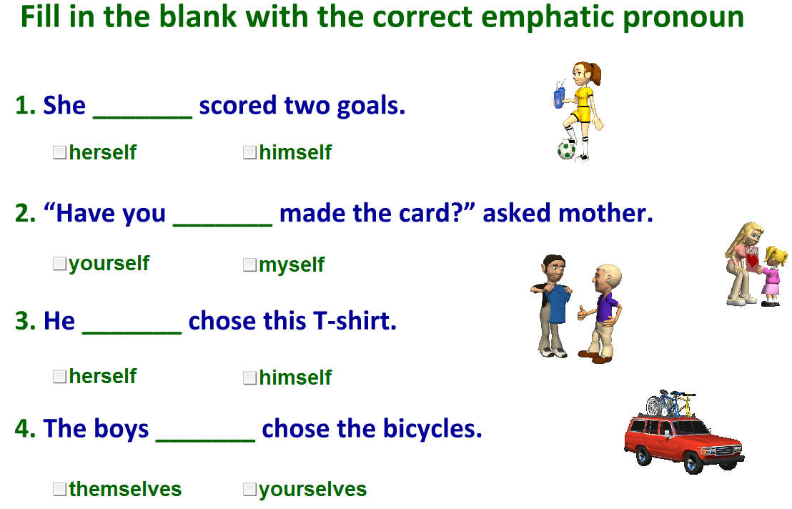 hight resolution of emphatic pronouns exercises with answers