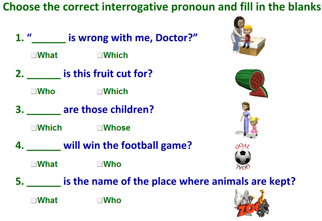 Interrogative Pronouns Worksheet