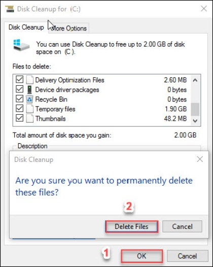 Confirming Disk Cleanup