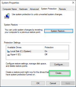 Creating Restore Point