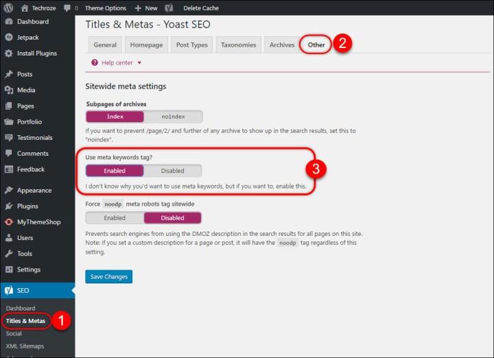 Add Keywords, Meta Description WordPress