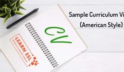 Sample Curriculum Vitae (American Style)