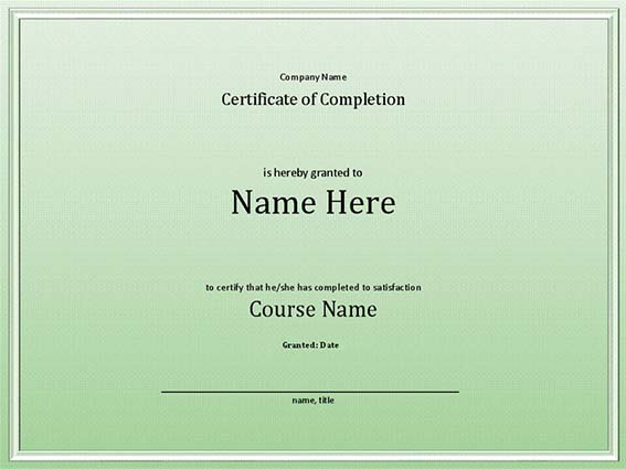 Certificate of completion for an employee sample 3
