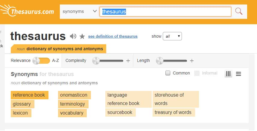 Using an online thesaurus