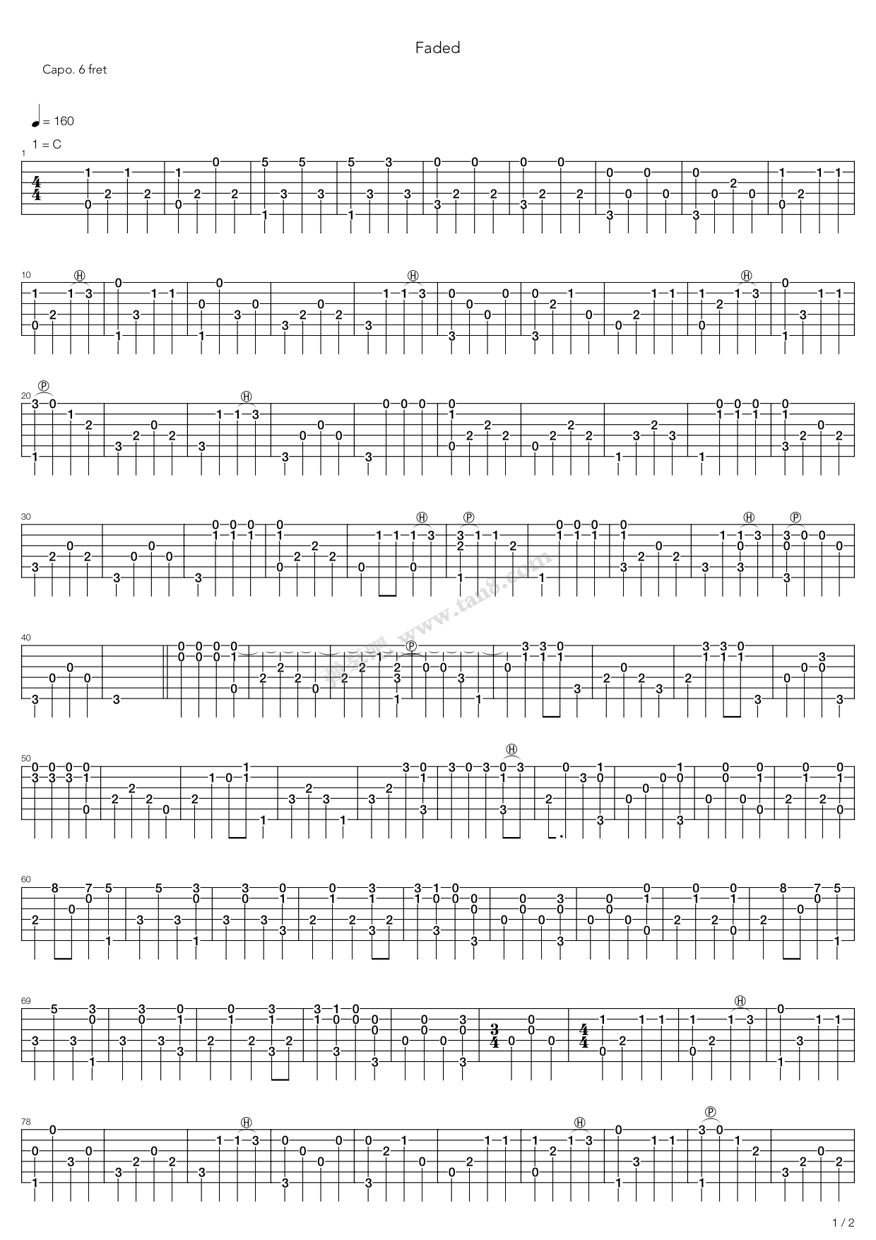 Faded by Alan Walker solo Free Guitar Sheet Music, Tabs