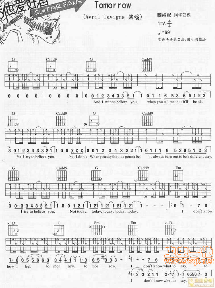 Tomorrow by Avril Lavigne Free Guitar Sheet Music, Tabs