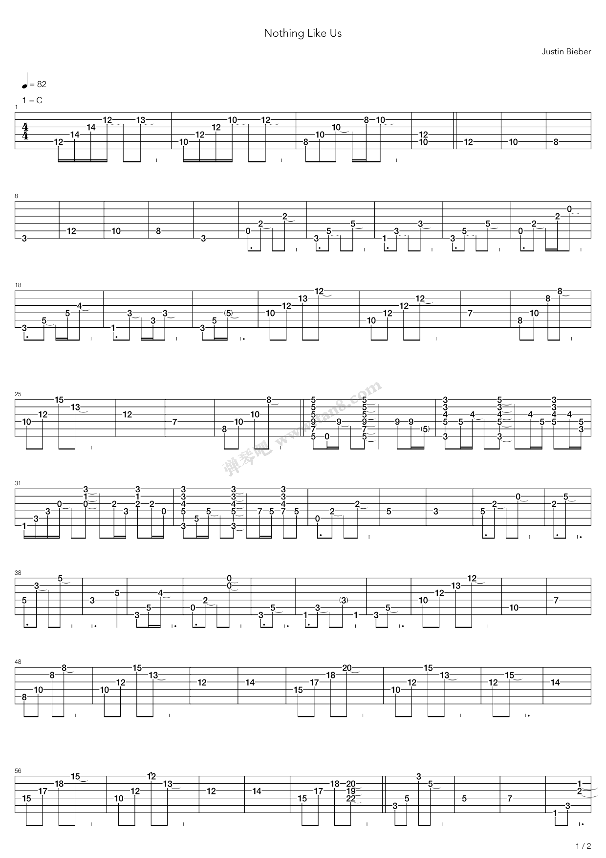 Nothing Like Us by Justin Bieber Guitar Tabs Chords Sheet