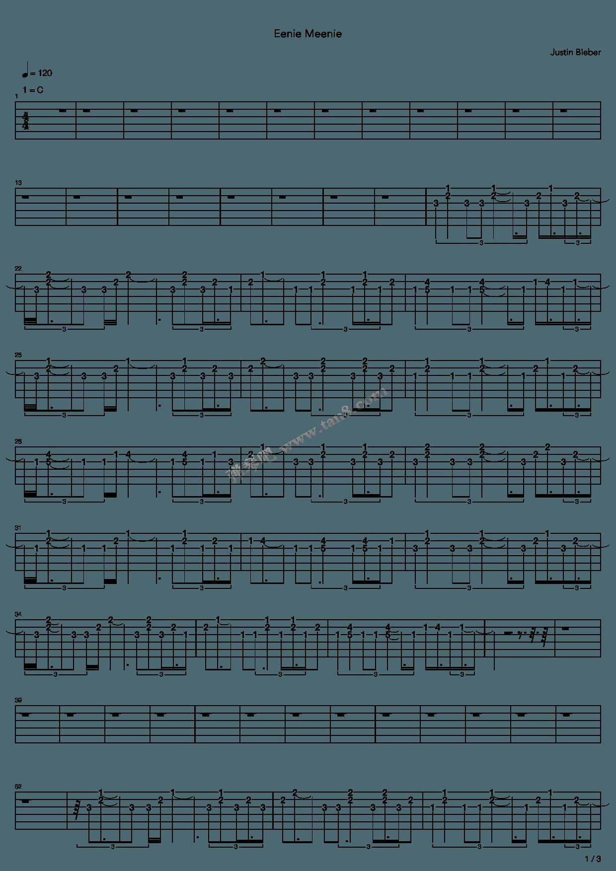 Eenie Meenie by Justin Bieber Guitar Tabs Chords Sheet