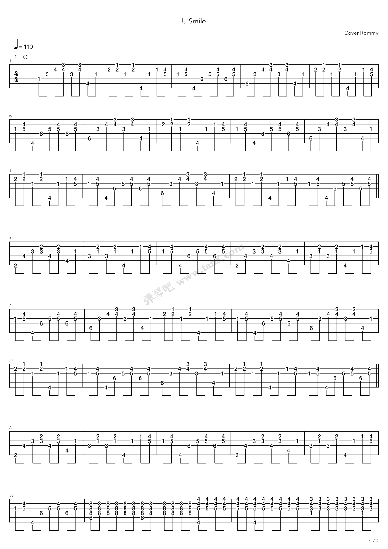 U Smile by Justin Bieber Guitar Tabs Chords Sheet Music