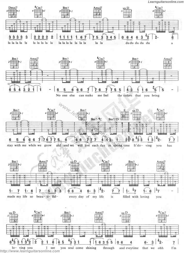 Loving You by Minnie Riperton Guitar Tabs Chords Sheet