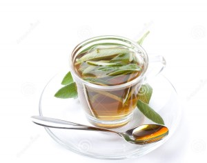 sage-tea-white-background-fresh-herb-inside-teacup-silver-spoon-front-aerial-view-wide-shot-isolated-47900320