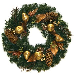 cheap-christmas-decorations-gold-australian-pine-wreath-unlit