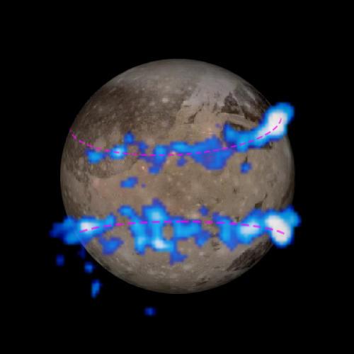 Ocean on Jupiter's moon aurora