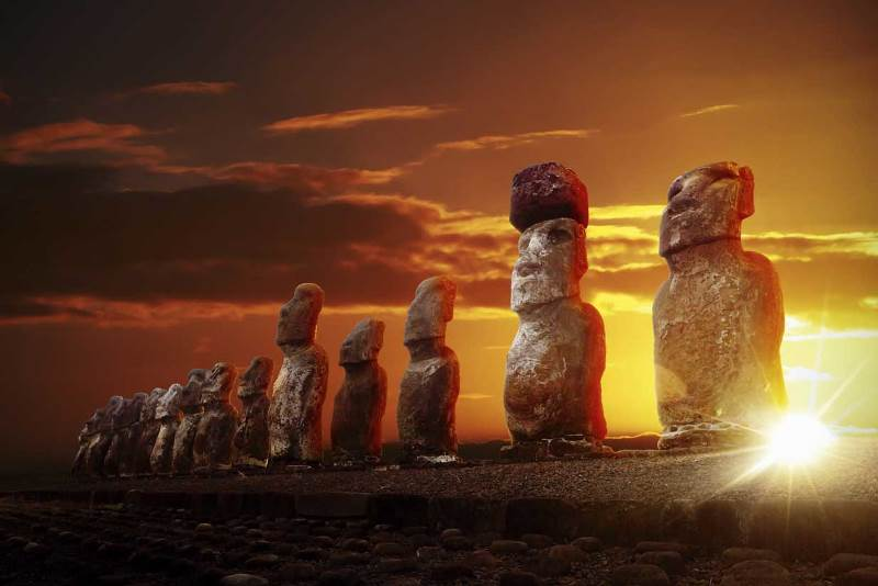 easter island statues hats