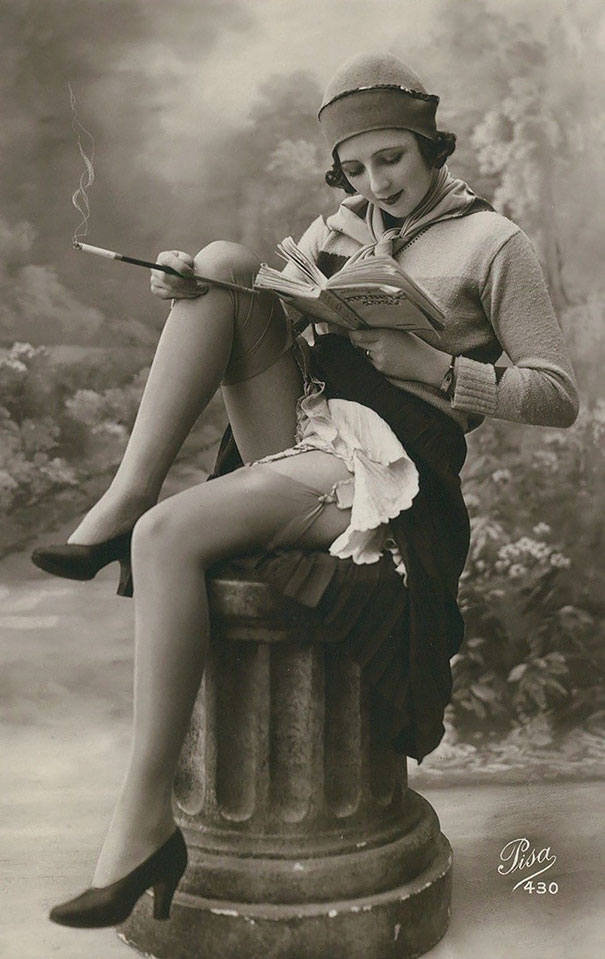 womens beauty lady with a book cigarette