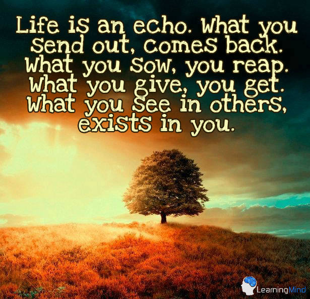 Life Is An Echo. What You Send Out Comes Back. What You Sow,