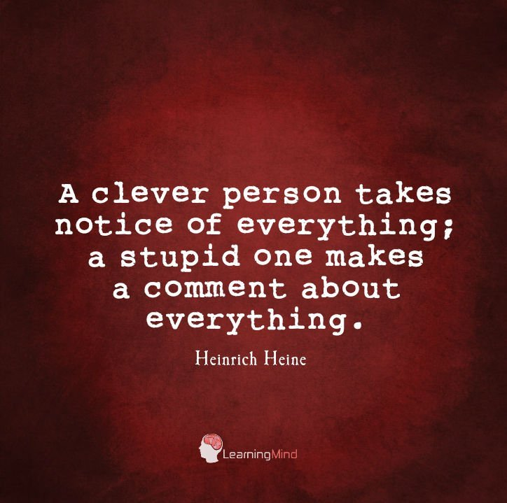 A clever person takes notice of everything; a stupid one makes a comment about everything.